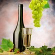 Vintage still life with  white wine - Stock Photo