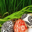 Easter eggs in basket and grass — Stock Photo