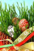 Easter eggs, ribbons and grass — Stock Photo