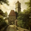Medieval castle in grunge style — Stock Photo