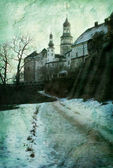 Winter castle in grunge style — Stockfoto