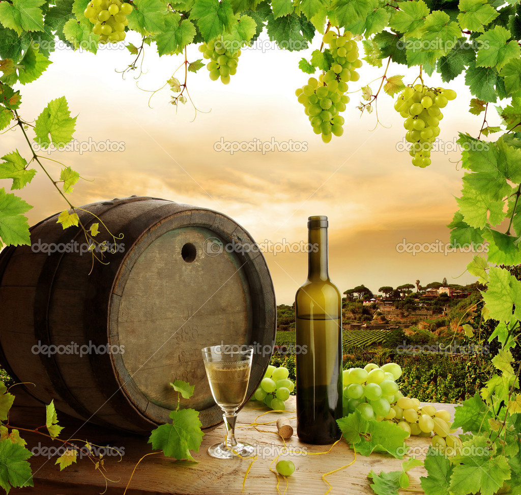 Wine barrel, bottle and glass with fresh grapevine and grapes framing, on background of sunset vineyard — Photo #2284174