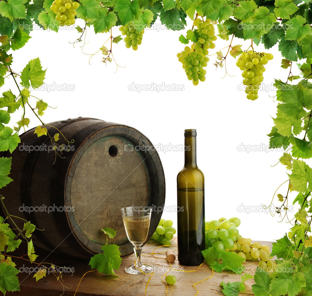 Wine barrel, bottle and glass with fresh grapevine and grapes framing, isolated on white background  Stock Photo #2284218