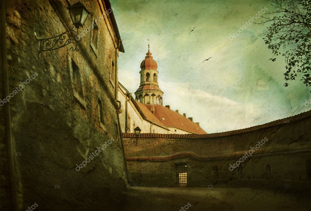 Grunge image of Nachod castle in Czech Republic — Stock Photo #2289705