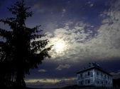 Old abandoned house in night — Stock Photo