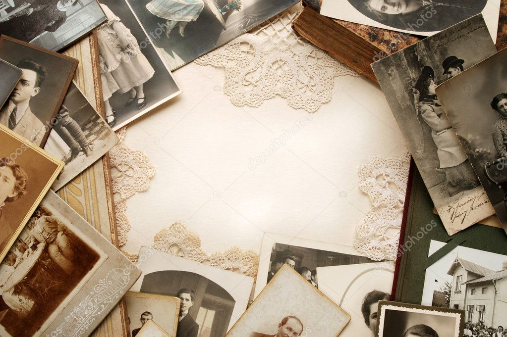 Background of family photographs and antique doilies — Stock Photo #2417350