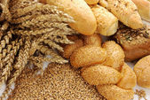 Wheat, grain, buns and rolls — Stock Photo