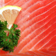 Raw salmon fillet in detail - Stock Photo