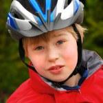 Portrait of boy in cyclist helmet — Stock Photo