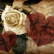 Rose and hearts in grungy style — Stok Fotoğraf #2551128