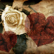 Rose and hearts in grungy style - Stock Photo