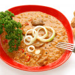 Goulash on red plate with bread — Stock Photo #2593988