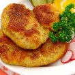 Stock Photo: Breaded steak and vegetable garnish