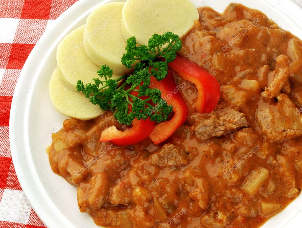 Pork goulash with potato dumplings on red checkered cloth — Stock Photo #2592142