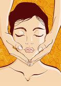 Relaxing Facial Massage — Stock Vector