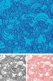 Space doodles seamless pattern — Stock Vector
