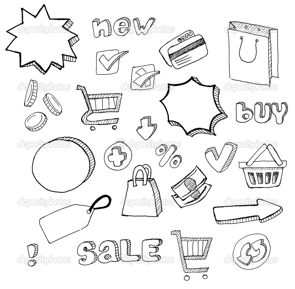 Shopping doodles hand drawn set — Stock Vector #2471222