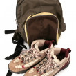 Rucksack and boots for excursion — Stock Photo
