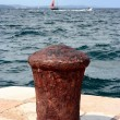 Old ship pier (bollard) - Stock Photo