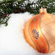 Branch with Christmas bauble - Stock Photo