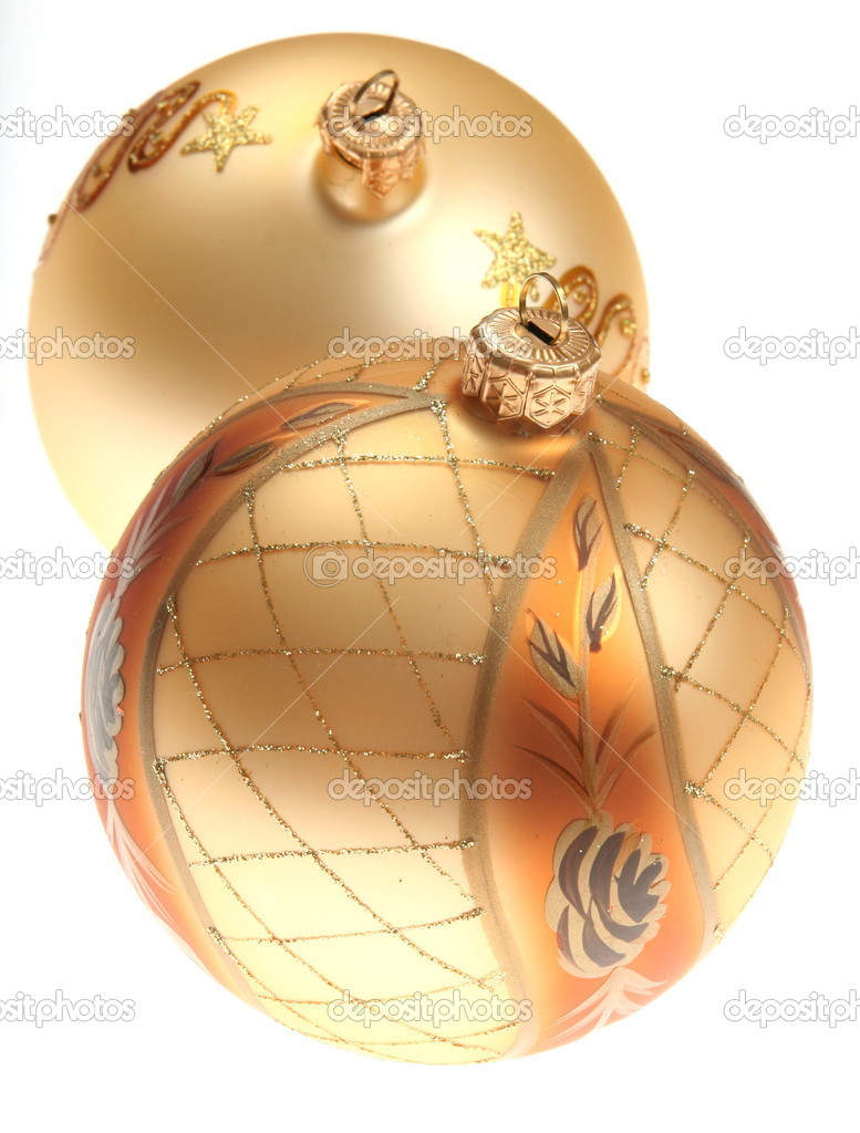Gold christmas decoration on white background  Stock Photo #2296551