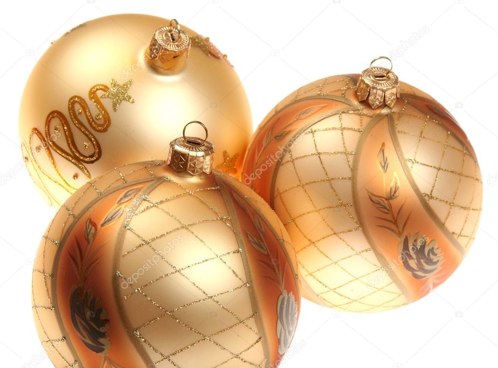 Golden Christmas baubles isolated on white background. — Stock Photo #2296565
