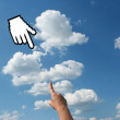 Hand with cursor hand on the sky — Stock Photo #2307242
