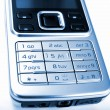 Modern silver mobile phone — Stock Photo