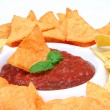 Nachos and salsa dip i — Stock Photo