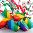 Party blower and curly ribbons — Stockfoto