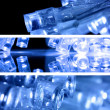 Blue led lights in three strips — Stock Photo