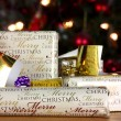 Wrapped gifts with tags — Stockfoto