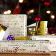 Wrapped gifts with tags - Stock Photo