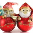 Two Father Christmas figures - Stock Photo