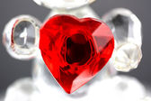 Red glass love heart — Stok fotoğraf