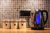 Kitchen worktop and kettle — Stok fotoğraf