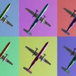 Six aeroplanes on pastel backgrounds — Stock Photo