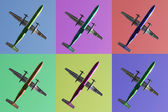 Six aeroplanes on pastel backgrounds — Stock Photo