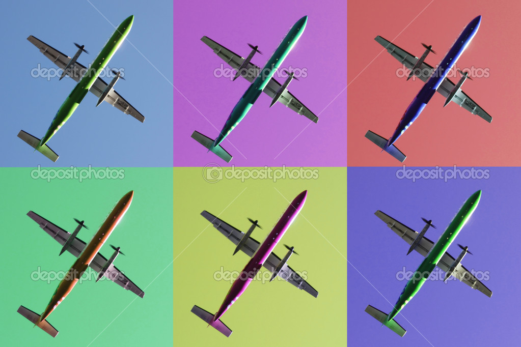 Six aeroplanes on pastel backgrounds  Stock Photo #2510262