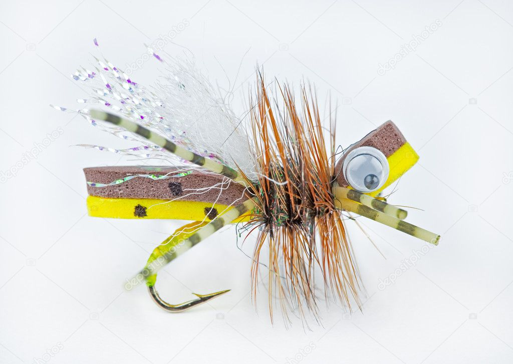 Foam body trout fly that imitates a bee or other large insects — Stock Photo #2262380