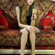 Стоковое фото: Attractive girl with glass of fizz