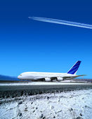 Airport in winter time — Stock Photo