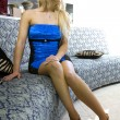 Blonde woman in reception room - Foto de Stock