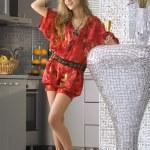 Woman wearing red dress — Stock Photo