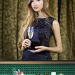 Woman in a casino — Stock Photo