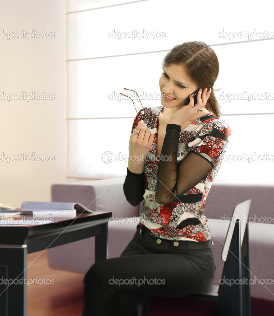 One businesswoman is working in the office  — Stock Photo #2461284