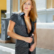 Blonde woman in hot spot - Stockfoto