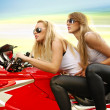 Stock Photo: Two blonde on a motorcycle