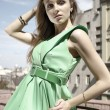 Fashion model in green - Stock Photo