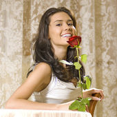 Girl with rose — Stock Photo
